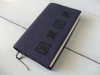 新四角刺繍の新書サイズノート・手帳カバー 渋紫の画像