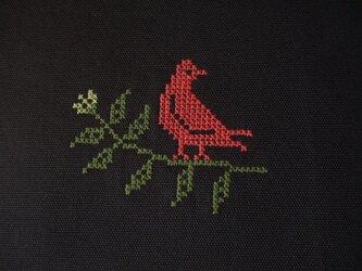 鳥刺繍のブックカバー◆セミオーダー◆ 茶の画像