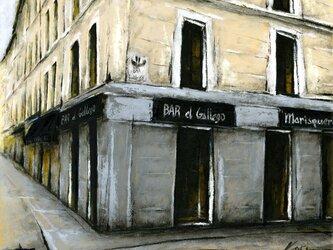 風景画 バルセロナ 油絵「BAR el Gallego」の画像