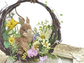 うさぎの春色リースの画像