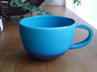 スープマグカップ ターコイズブルー 線刻の画像