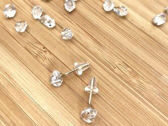ハーキマーダイヤモンド一粒ピアス【14KGF】の画像