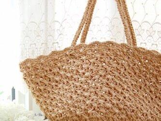 【編み図】クロス模様のかごバッグの画像