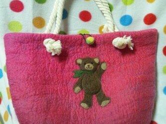 羊毛 クマちゃんのマザーズバッグ♪の画像