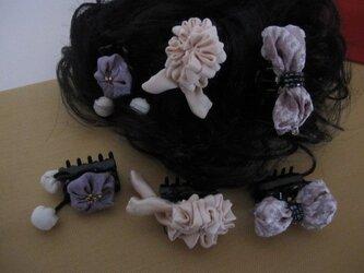 ★ちりめん細工 ★布花髪飾り バンスヘアアクセサリー 2個セットの画像