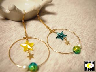 ~ Aurora ~ オーロラ色のビーズと星のピアス/イヤリングの画像
