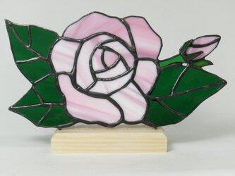 ステンドグラス 薔薇パネル ピンクの画像
