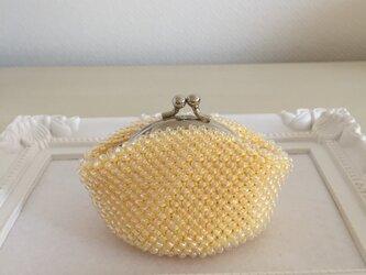 黄色のがま口*総ビーズ編み*の画像