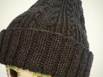 再販☆洗濯機で洗えるアラン模様のニット帽【杢チャコール】の画像