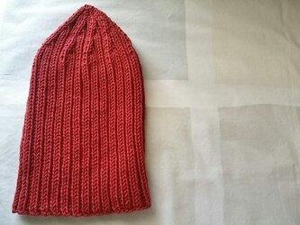 カシミア入り リブ編みニットキャップ・赤の画像