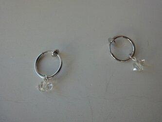 ハーキマーダイヤモンドのフープイヤリング(シルバー)の画像