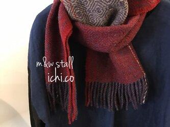 m&W手織りマフラー(赤×紫)の画像