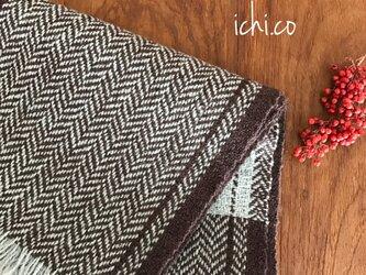 天然デンマークウールの手織りマフラーの画像