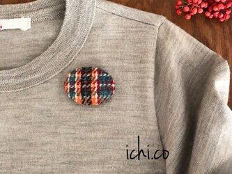 手織りツイード生地のブローチの画像