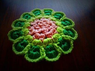 ポットマット「黄緑*ピンク、薄紫」の画像