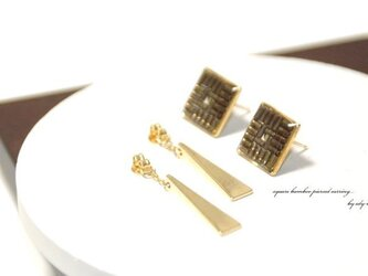 square bamboo pierced earringの画像