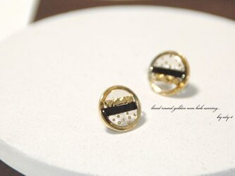 lined round golden nonhole pierced earringの画像