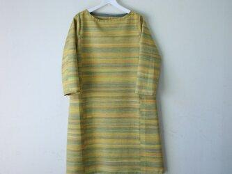 絹紬 黄鶸色横段 テトラワンピ長袖 Mサイズの画像