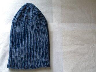 カシミア入り リブ編みニットキャップ・紺の画像