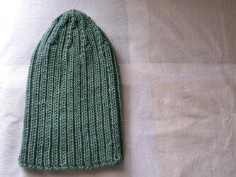 カシミア入り リブ編みニットキャップ・緑の画像