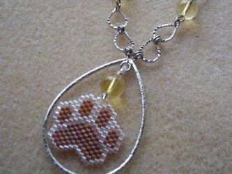 天然石☆シトリンと肉球のネックレスの画像