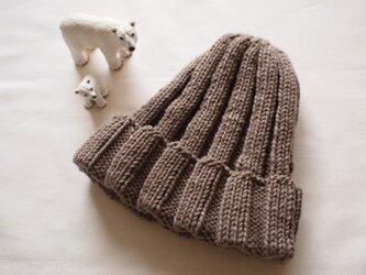 極太リブ編みニット帽【ミルクティー】の画像
