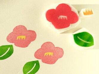 椿の花の消しゴムはんこセットの画像