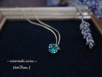 【再販】 アクアマリンの一粒ネックレス~ swarovski series ~の画像