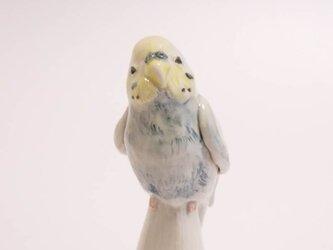陶器の小鳥オブジェ レインボー色のセキセイインコ (小鳥の置物)の画像