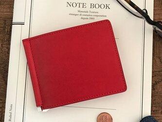 *イタリアンレザーブッテーロのマネークリップ 二つ折り財布の画像