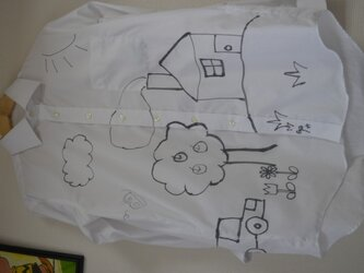 手描きシャツ(長袖)「あるところに」の画像