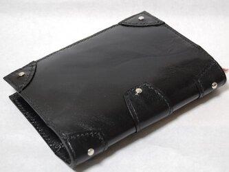 革の鋲付きブックカバー (ブラック:黒)の画像