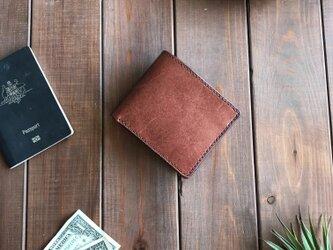 国産レザーを使用した焦茶の二つ折り財布の画像