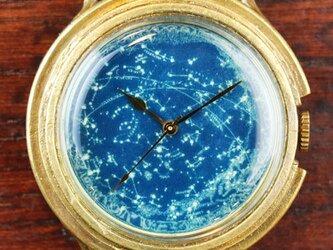 GENSO 天体観測 L-size 星空の腕時計 蓄光文字盤 天体 星座の画像