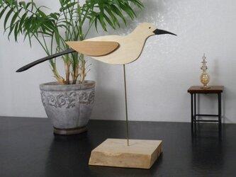 木製 セキレイ 置物の画像