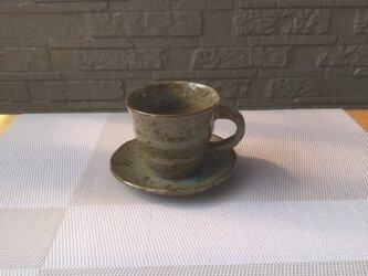 灰釉コーヒーカップとソーサーの画像