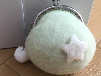 羊毛フェルト☆がまぐち財布☆スター☆グリーンの画像