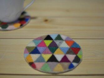 羊毛の幾何学コースターの画像