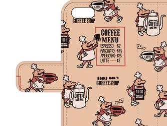 ビーンズマンのコーヒーショップ  iPhone6/6s iPhone7手帳型ケース【受注生産品】の画像
