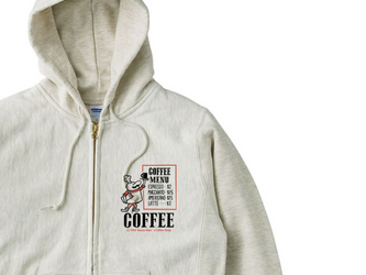 【厚手生地】【あったか】ビーンズマンのCOFFEE SHOP  S~XL ジップパーカ【受注生産品】の画像