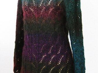 ☆サマーセール☆ ふんわり段染めモヘアの模様編みチュニックの画像
