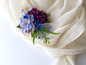 浴衣やお着物に 紫陽花とスカビオサのヘアーアクセサリーの画像