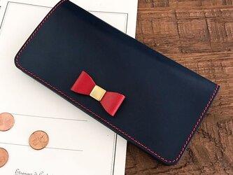 *栃木レザーの2つ折り長財布 ロングウォレット ブルー×レッドの画像