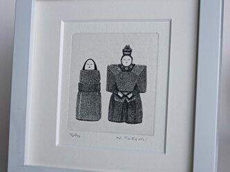 ひな人形 ・ C / 銅版画 (額あり)の画像