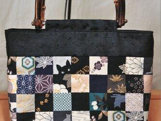 和柄 市松模様 竹持ち手のミニトートバッグの画像