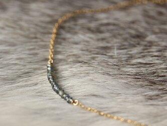 ブルーグリーンカラーサファイアのネックレス【K14gf】の画像