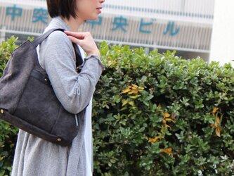 tanton-mini-クロ(タンニン染め帆布×杤木レザーバッグ)の画像
