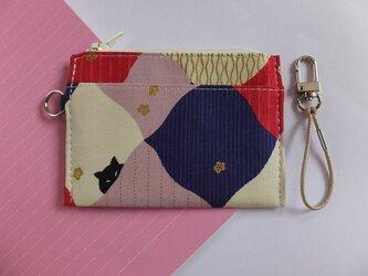 パス&スマートキーケース(菱形とネコ・ピンク)の画像