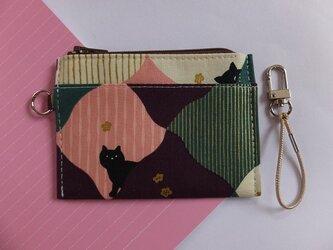 パス&スマートキーケース(菱形とネコ・紫)の画像