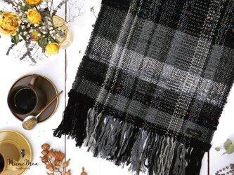 手織りのマフラー タッセルストールピン付き #2の画像